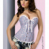 Corset Overbust Blue-Pink, Talie: 76-81cm, G-string cadou, Marime: Alta, Culoare: Alb, Albastru, Fara bretele