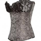 Corset Overbust Renaissance Satin Gri-Argintiu, Talie: 71-76cm, G-string cadou, Marime: Alta, Fara bretele, Marime sutien: 95
