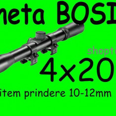 LUNETA metalica Bosile 4X20 + prindere Arma Arbaleta Pusca Pistol Airsoft - Luneta vanatoare