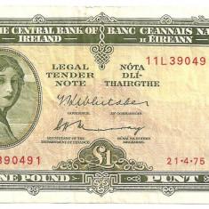 IRLANDA 1 LIRA POUND 1975 U