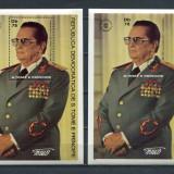SAO TOME E PRINCIPE 1982 PERSONALITATI TITO - 2 COLITE DANTELAT, NEDANTELAT COTA MICHEL 27 EURO - Timbre straine