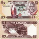 ZAMBIA 5 kwacha ND 1980-88 UNC!!!