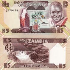 ZAMBIA 5 kwacha 1988 UNC!!!