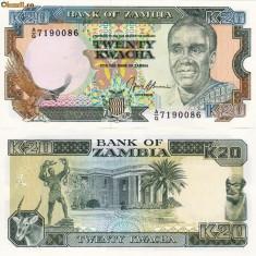 ZAMBIA 20 kwacha ND 1989-91 UNC!!!