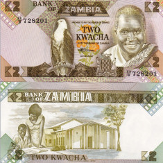ZAMBIA 2 kwacha 1980-88 UNC!!!