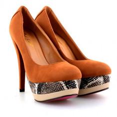 Pantofi maro cu platforma animal print - Pantof dama, Culoare: Coniac, Marime: 39, Cu toc