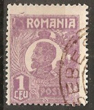 TIMBRE 104k, ROMANIA, 1920, FERDINAND BUST MIC, 1 LEU, EROARE, CADRU INTRERUPT SUS - STANGA, RARITATE, MARCA ATIPICA, ERORI, ECV, ATIPICE, RARITATI