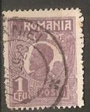 TIMBRE 104l, ROMANIA, 1920, FERDINAND BUST MIC, 1 LEU, EROARE, CADRU INTRERUPT LATURA DREAPTA, RARITATE, MARCA ATIPICA, ERORI, ECV, ATIPICE, RARITATI