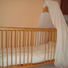 Pat bebelus cu baldachin Kika - Patut lemn pentru bebelusi, 140x70cm, Maro