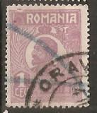 TIMBRE 104j, ROMANIA, 1920, FERDINAND BUST MIC, 1 LEU, EROARE, CADRU INTRERUPT SUS - STANGA, RARITATE, MARCA ATIPICA, ERORI, ECV, ATIPICE, RARITATI