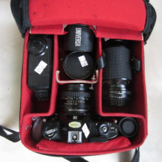 PACHET COMPLET NIKON + OBIECTIVE, BLITZ, HUSA, ETC - Aparat Foto cu Film Nikon, SLR, Mediu