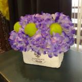 Aranjament flori artificiale - hortensii mov deschis - Vaza si suport flori