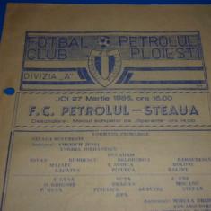 Program meci fotbal - PETROLUL Ploiesti - STEAUA Bucuresti 27.03.1986