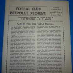 Program meci fotbal PETROLUL PLOIESTI - FC ARGES Pitesti 22.04.1973