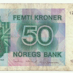 NORVEGIA 50 COROANE KOROANE KRONER 1995 [1] starea din imagine - bancnota europa