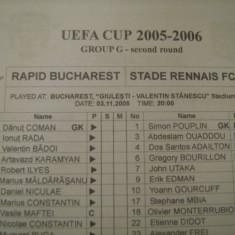 Rapid Bucuresti - Stade Rennais FC (3 noiembrie 2005) - Program meci