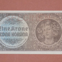 Bohemia si Moravia 1 Koruna 1940 SPECIMEN UNC