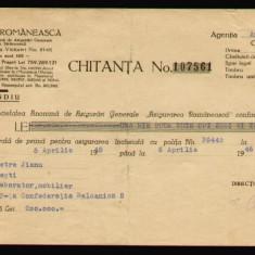 Chitanta pentru Polita de Asigurare contra incendiului din 1946, Asigurarea Romaneasca