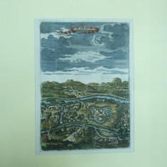 Oradea 1686 gravura color Waradin - Pictor roman