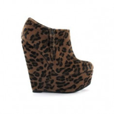 Botine Platforma Nelly Shoes Leopard - Botine dama, Culoare: Maro, Marime: 39, Textil, Maro