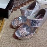 Pantofi dama - Pantof dama, Culoare: Alb, Marime: 37, Argintiu, Cu toc