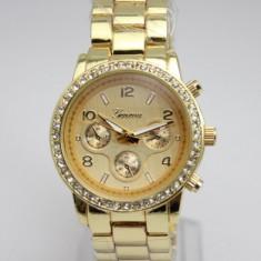 Ceas Luxury GENEVA Diamond Model Superb Bratara Metalica Dama CEL MAI MIC PRET GARANTAT | Calitate GARANTATA | - Ceas dama Geneva, Casual, Quartz, Inox, Cronograf