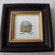 Acuarela in miniatura, semnata si datata 1995