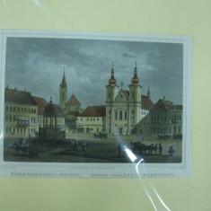 Targu Mures 1840 gravura color Marosvasarhely