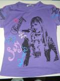 Tricou de fete, marimea 10-12 ani, cu Hannah Montana, ideal de joaca sau casa, 30, Mov