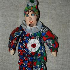 DD- clovn, claun, arlechin, material textil, fata pictata, colectie, 37 cm - Jucarii plus