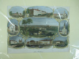 Oradea Mare 1850 gravura color Gross - Wardein Viena Cal Kehlfeld, Istorice, Fresca, Realism
