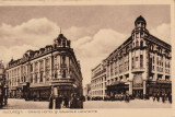 CARTE POSTALA BUCURESTI - GRAND HOTEL SI GALERIILE LAFAYETTE        Circulata 2 MAI 1945, Stampila CENZURAT PITESTI 25, Printata