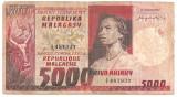 MADAGASCAR MALAGACHE MALAGASY 5000 FRANCI FRANCS 1000 ARIARY ND (1974) U