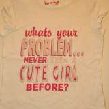 Tricou pentru fete, marimea 7-9 ani, marca Cherokee, cu mesaj, Culoare: Alb