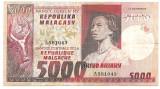 MADAGASCAR MALAGACHE MALAGASY 5000 FRANCI FRANCS 1000 ARIARY ND (1974) VF