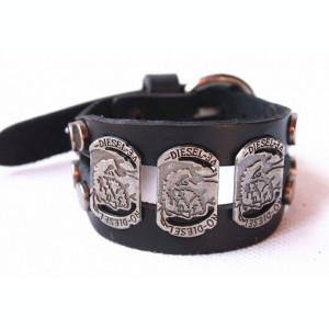 Bratara DIESEL - Punk Rock Style , Piele Culoare Neagra