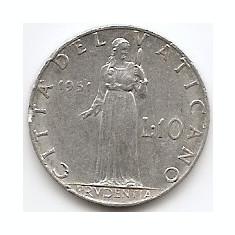 Vatican 10 Lire 1951 Papa Pius XII, Aluminiu KM-52.1, Europa