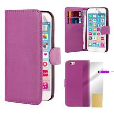 Husa iPhone 6 6s tip portofel piele ECO mov + folie display si stylus
