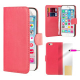 Husa Apple iPhone 6 6s - tip portofel piele ECO roz + folie protectie display, iPhone 6/6S, Piele Ecologica