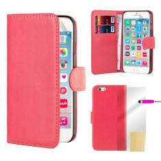 Husa Apple iPhone 6 6s - tip portofel piele ECO roz + folie protectie display