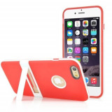 Husa iPhone 6 6s silicon bumper rosu model stand - folie protectie display