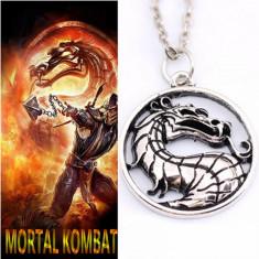 Pandantiv / Colier / Lantisor - MORTAL KOMBAT - Dragon argintiu - Lantisor fashion