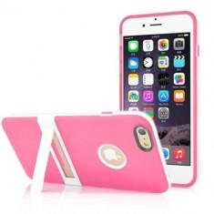Husa iPhone 6 Plus 5.5 inch silicon bumper roz model stand - stylus cadou - Husa Telefon Apple, iPhone 6/6S, Gel TPU, Fara snur, Carcasa