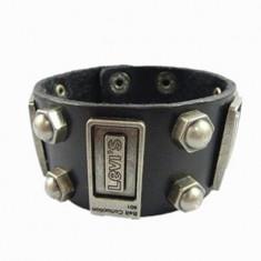 Bratara LEVI'S- Punk Rock Style, Piele Culoare Neagra - Bratara piele Diesel