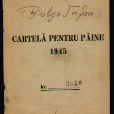 1945 Cartela pentru paine - tip carnet, contine doar coperta carnetului, stampile control
