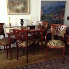 Set mobilier complet art nouveau semnat fotolii scaune masa canapea - Set mobila living