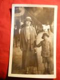 * Fotografie Interbelica Gara de Nord , Mama si Copil ,tip carte postala