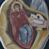 Icoana nasterea Domnului cu rama din lemn - fragment fresca pictura Bizantina !!!