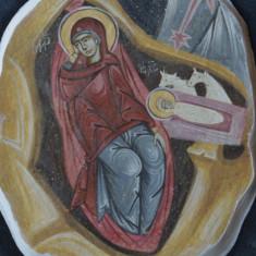 Icoana nasterea Domnului cu rama din lemn - fragment fresca pictura Bizantina !!! - Icoana pe lemn