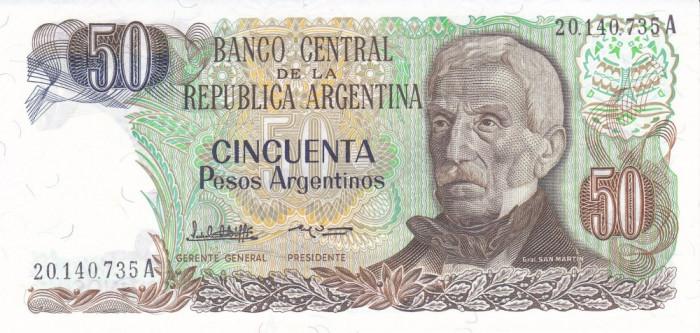 Bancnota Argentina 50 Pesos Argentinos (1984 - 85) - P314 UNC foto mare